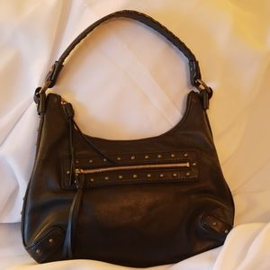 Michael Kors Black Leather Bag with Gold  Studs